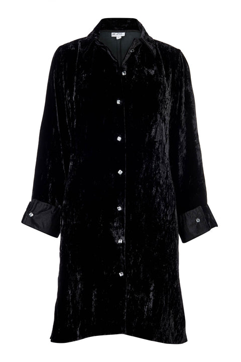 Amanda Silk Velvet Shirt (straight hem) - Black