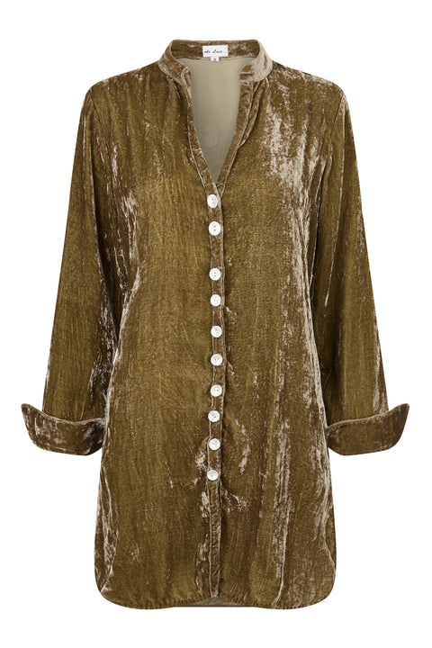 Louise Silk Velvet Shirt - Gold