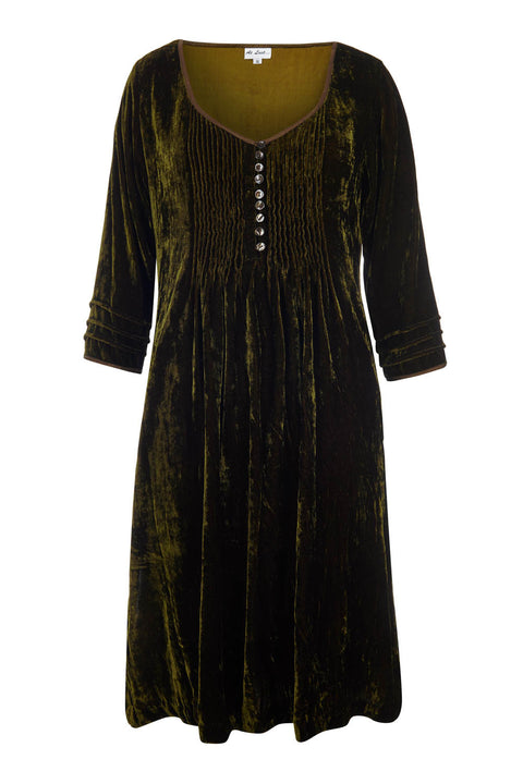 Annabel Silk Velvet Long Tunic \ Dress - Olive