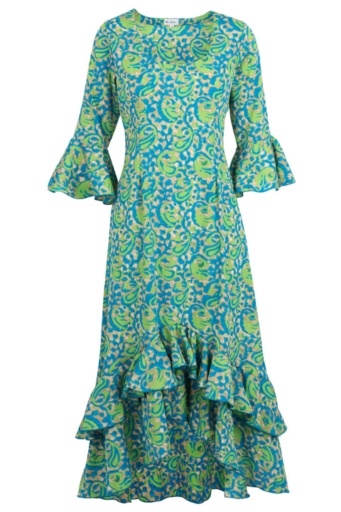 Victoria Dress Turquoise and Lime