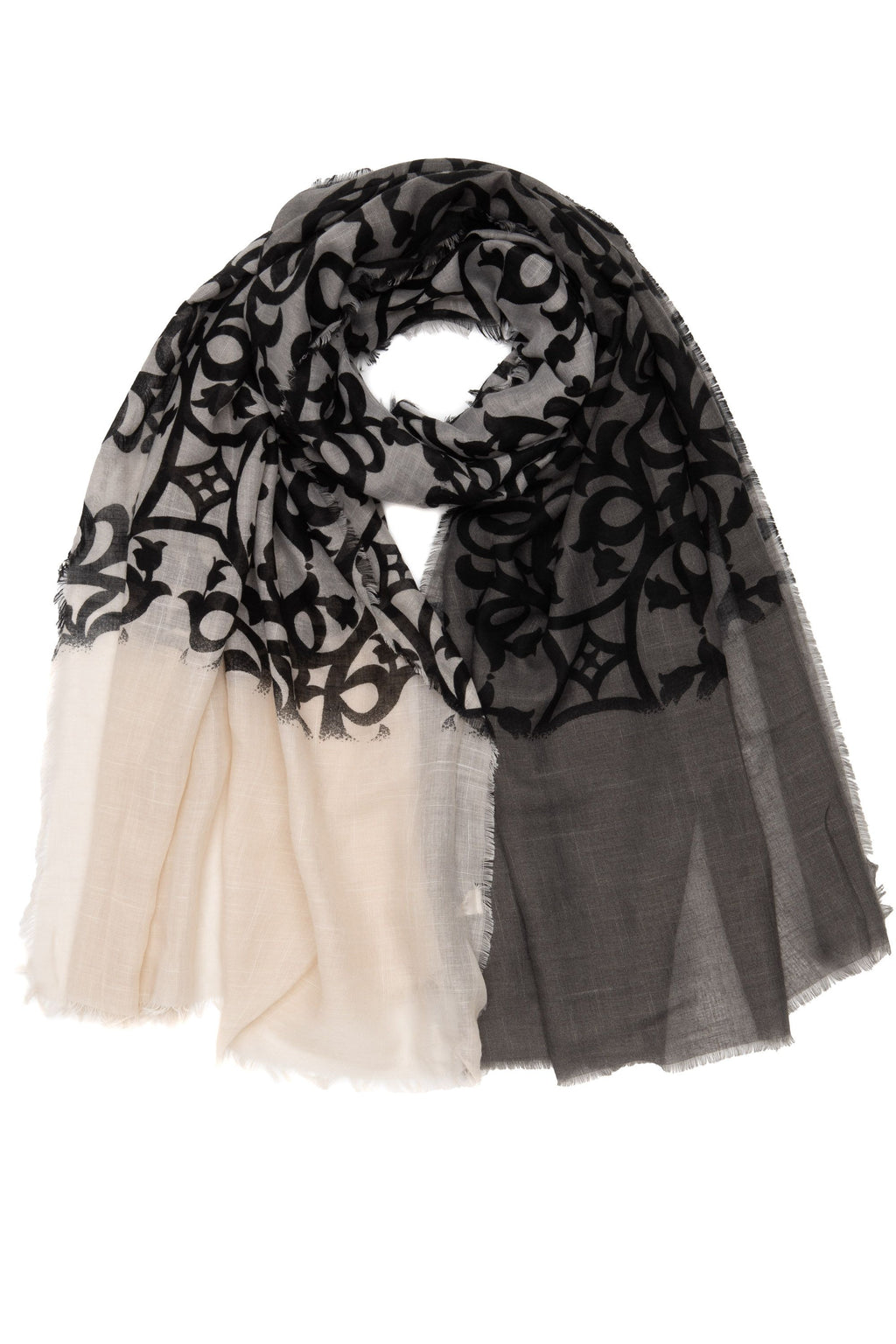 Ivory and Black Patterned Scarf