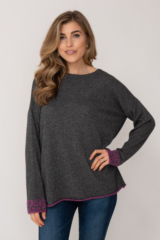 Cashmere Sweater Charcoal and Hot Pink Leopard Stripe