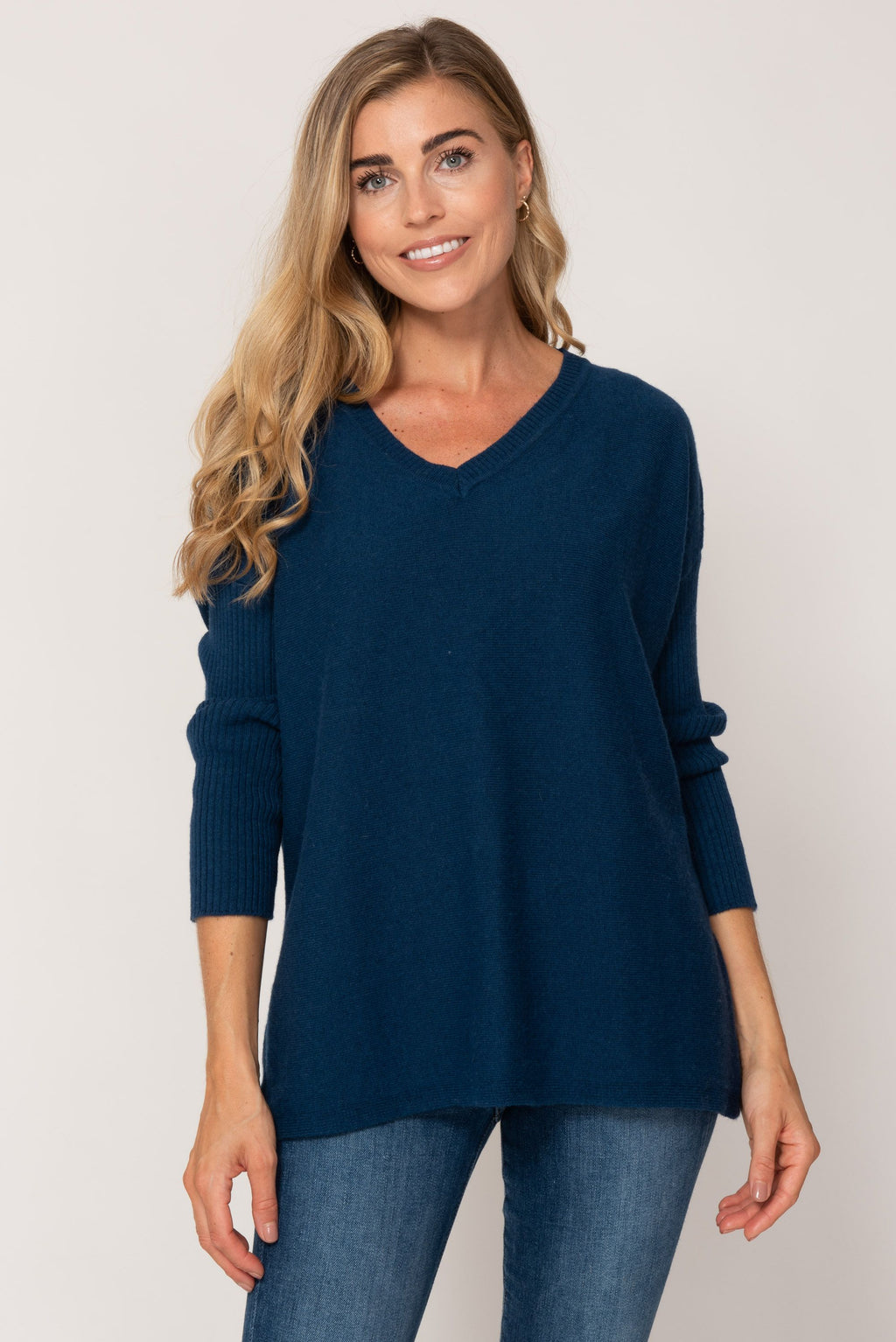 Cashmere Sweater- Air Force Blue with Back Star