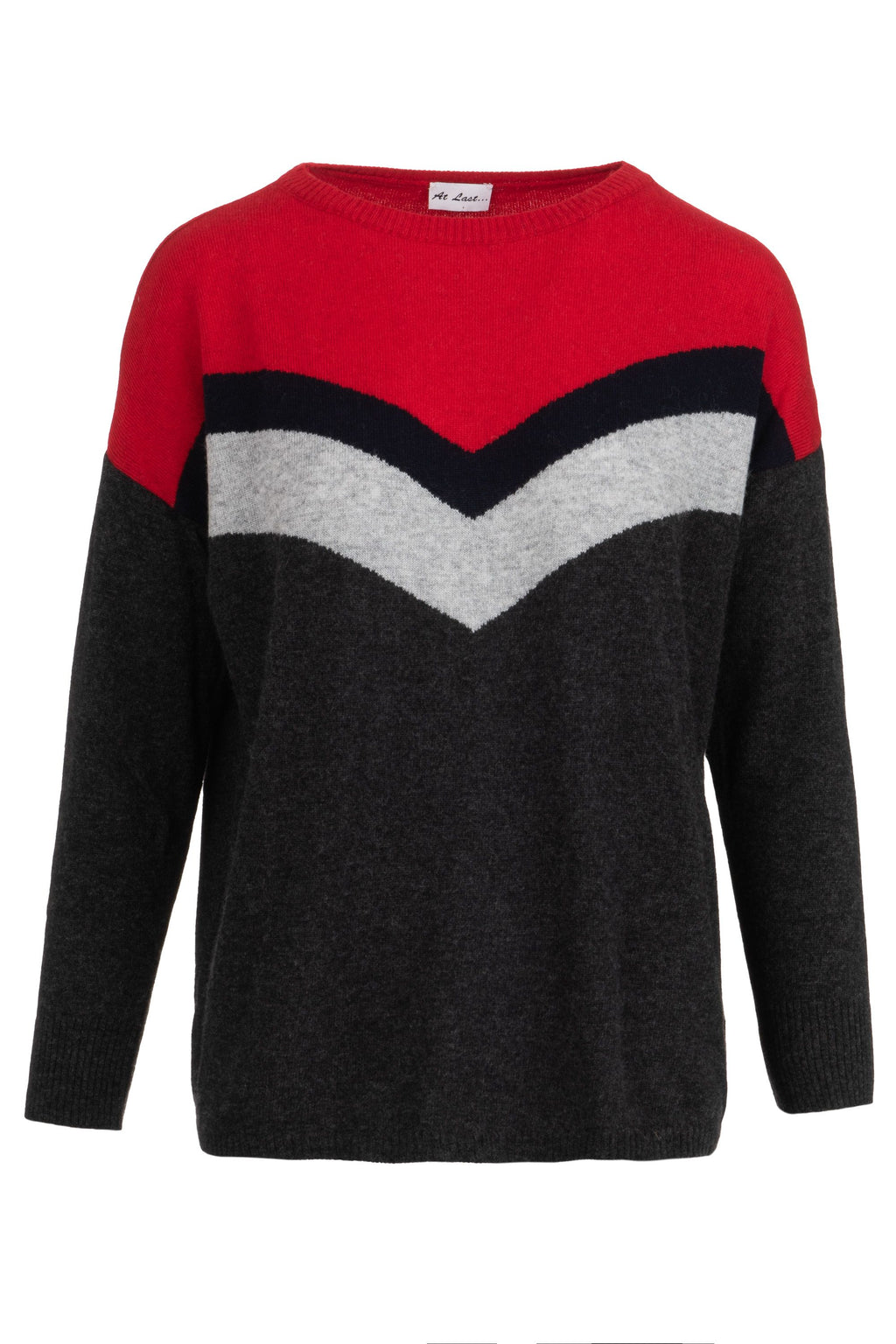Cashmere sweater- Red and Charcoal Chevron