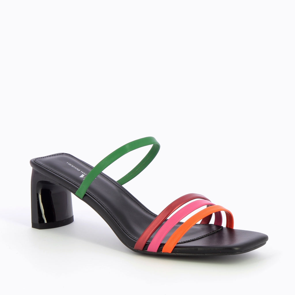 "Multi Colour Strap Low Heel Sandal by ""Vanessa Wu'"