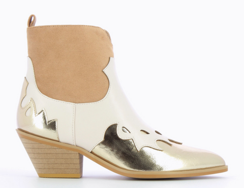 Tricoloured Snakeskin Effect Cowboy Boots in Nude by 'Vanessa Wu'