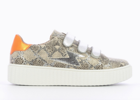 "Snakeskin Lightning with Silver Velcro Trainer by ""Vanessa Wu'"
