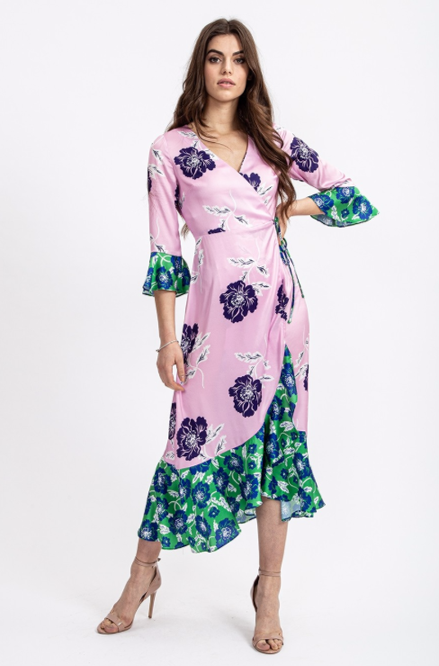 Contrasting Green and Pink Floral Dress by 'Liquorish'