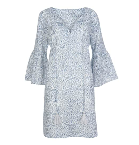 Belle Tassel Cotton dress- Floral Blue