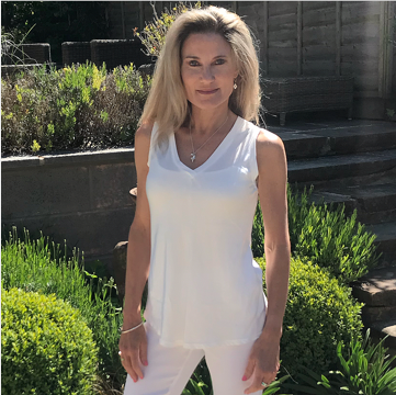 Italian White Vest Top with Silk Front
