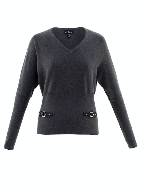'Marble' Charcoal Jumper with hip detail