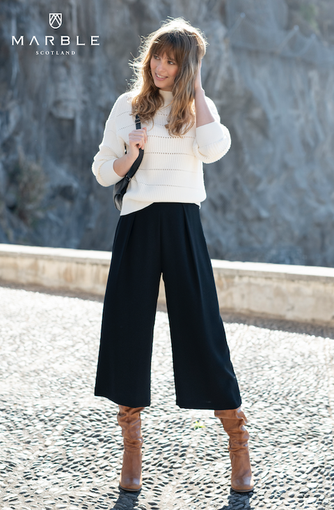 'Marble' crop palazzo trouser