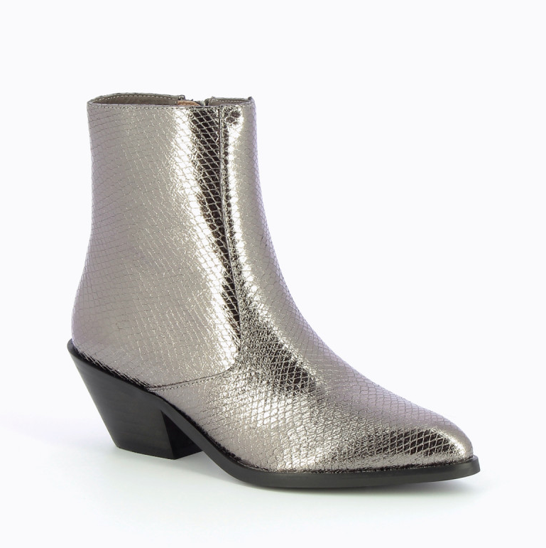 Charcoal Snakeskin Effect Cowboy Ankle Boots by 'Vanessa Wu'
