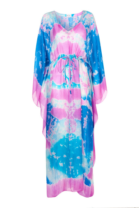 Bella Silk kaftan - Dip dye turquoise and pink