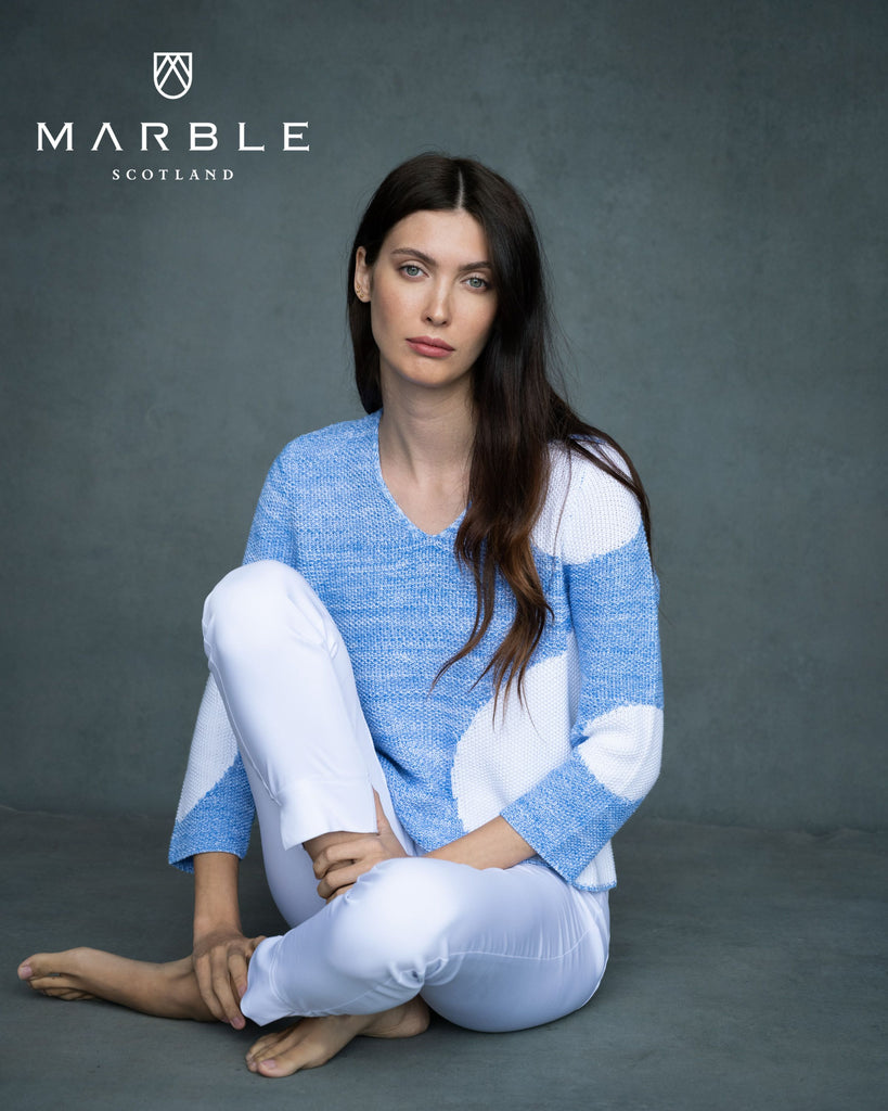Blue with White Sweater by 'Marble'