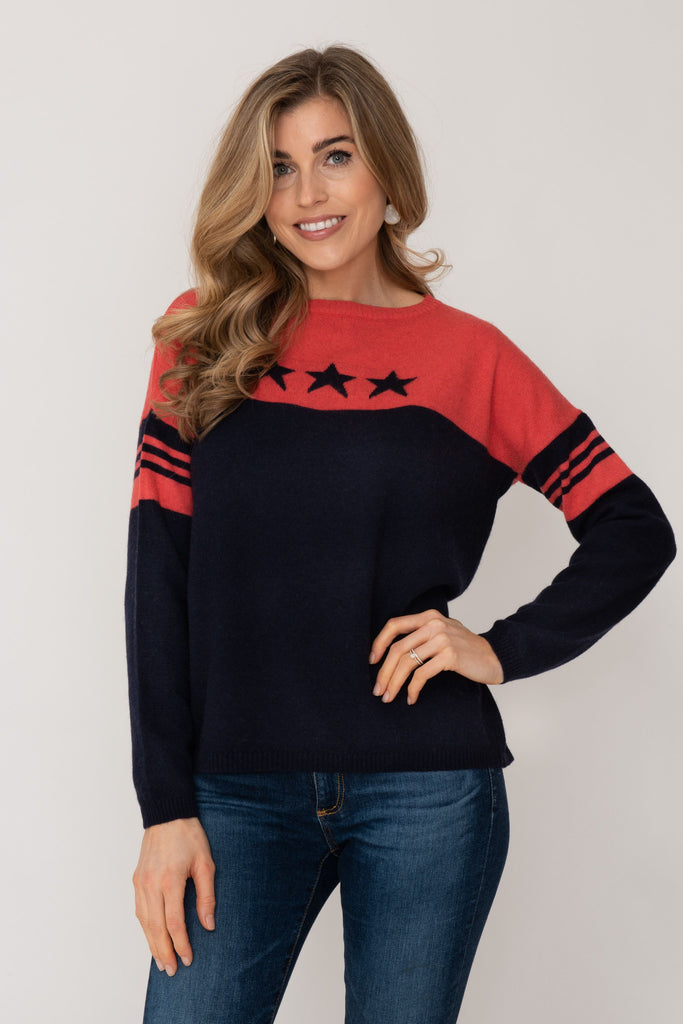 Cashmere Sweater- Coral and Navy Stars
