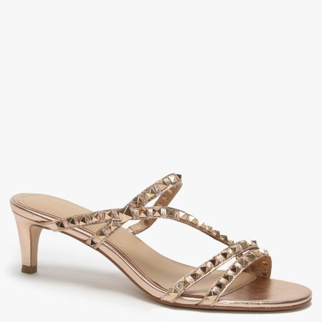'Ash' Studded Rose Gold Kitten Heel Sandal