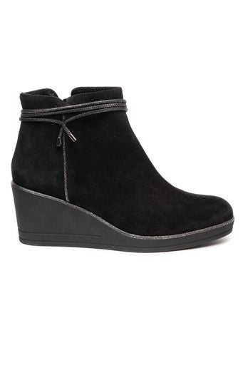 Black suede wedge ankle boot by 'Toni Pons'