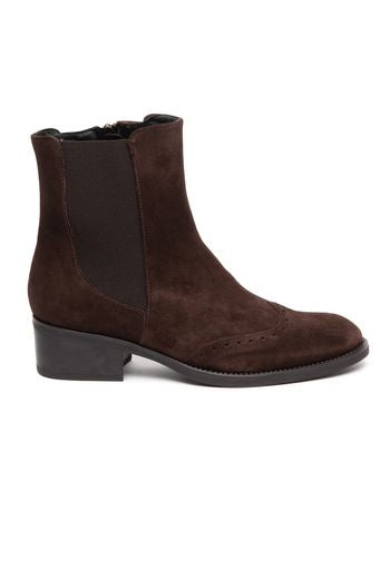 Leather ankle boot with brogue toe detail- chocolate by 'Toni Pons'