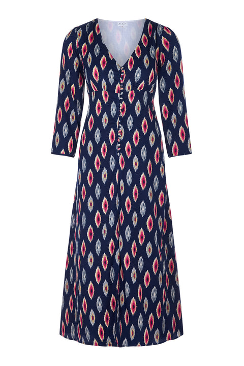Belgravia Dress - Navy Ikat