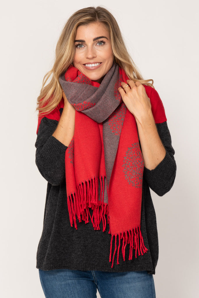 Large Reversible Scarf- Red