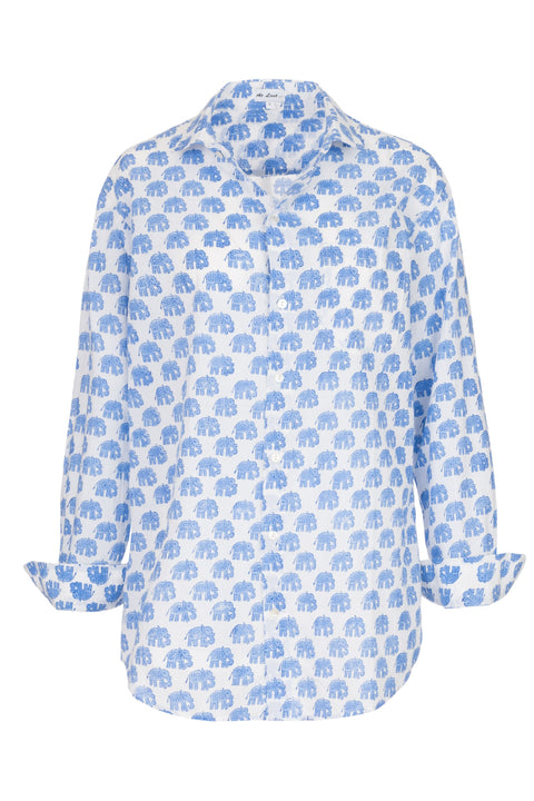 Men's Cotton Shirt in Blue Elephant