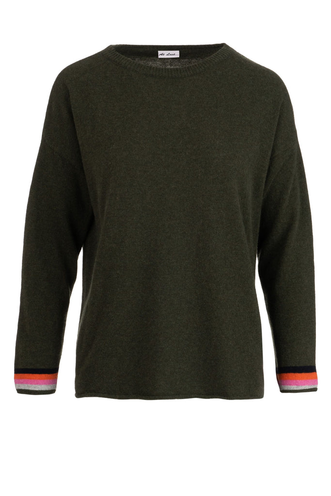 Cashmere Sweater- Olive with Navy Elbow