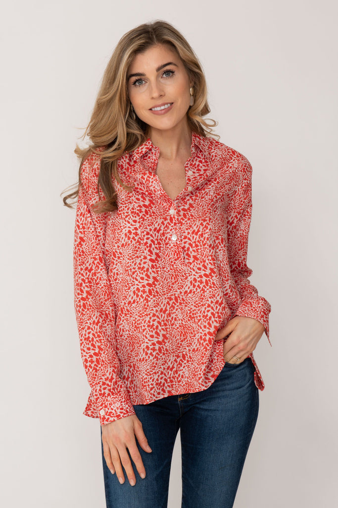 Soho Shirt with Back Detail Orange Animal Print
