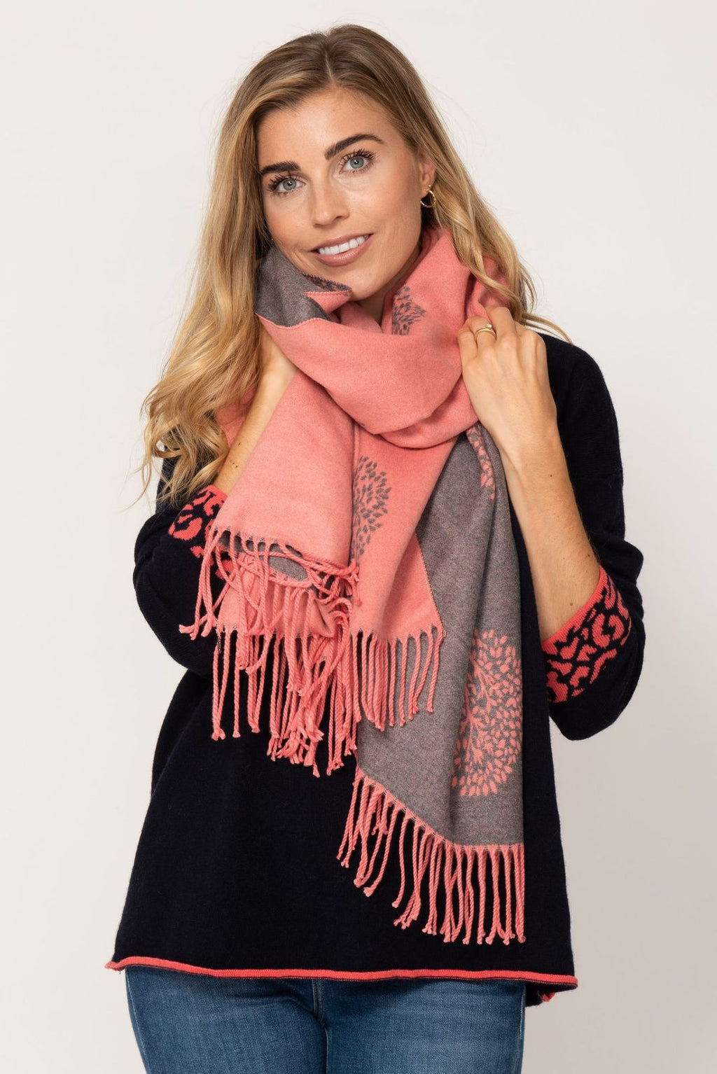 Large Reversible Scarf- Coral