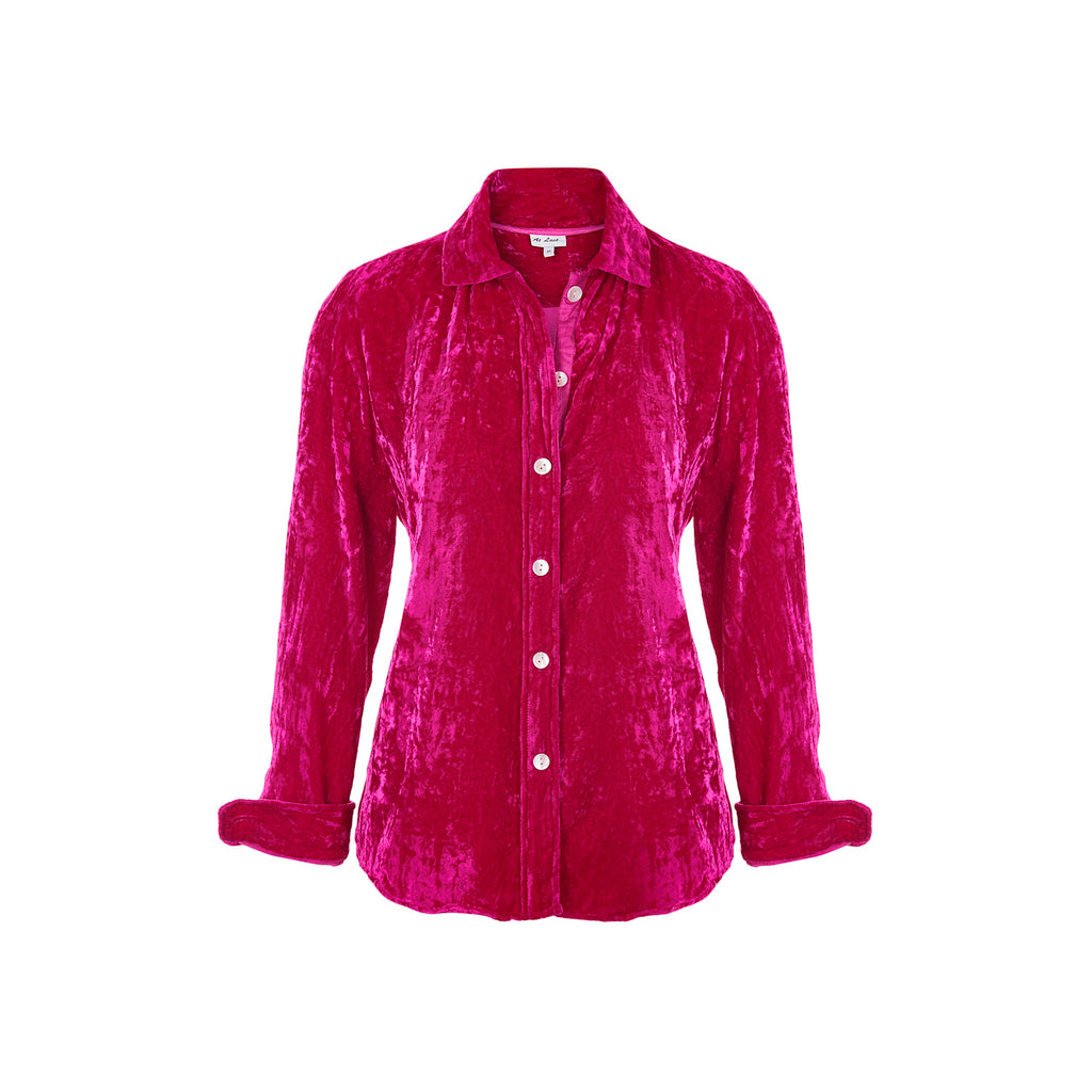 Karen Silk Velvet Shirt - Hot Pink
