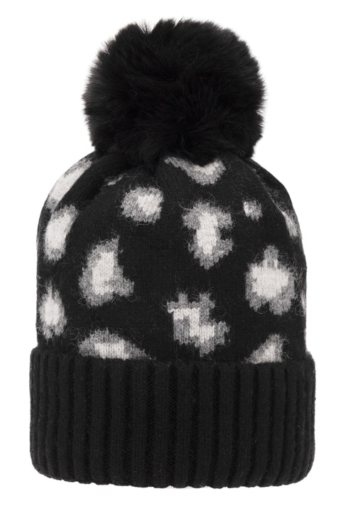 Super Soft Chunky Cashmere Hat with Pom Pom in Black & Grey Leopard