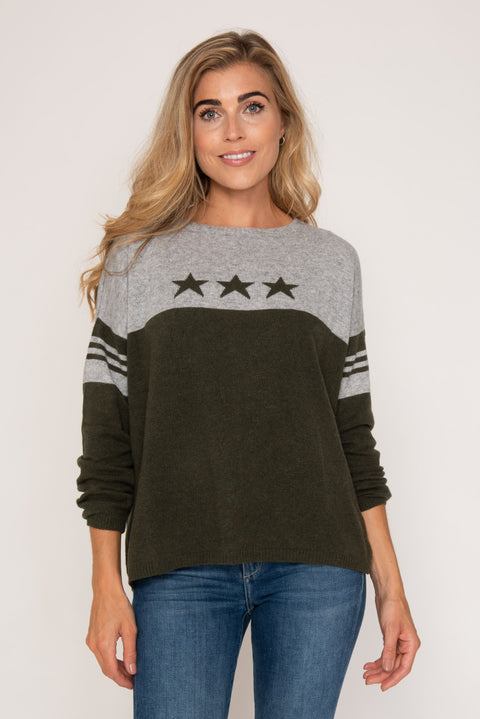 Cashmere Sweater- Olive star