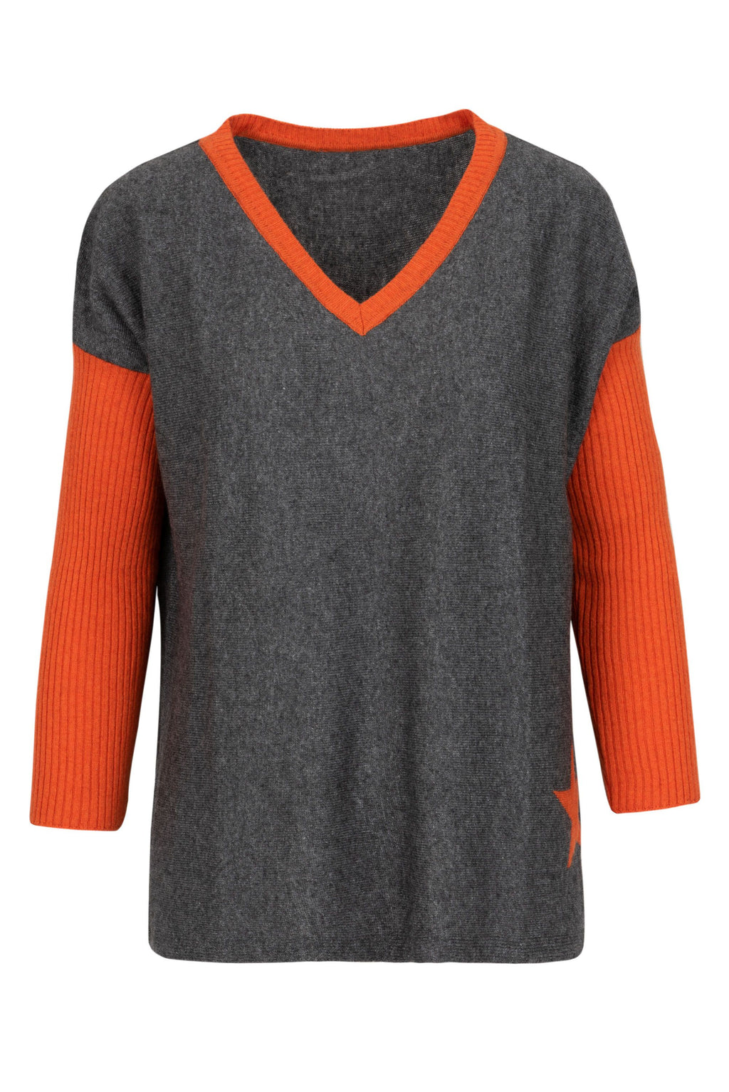 Cashmere Sweater- Orange Star