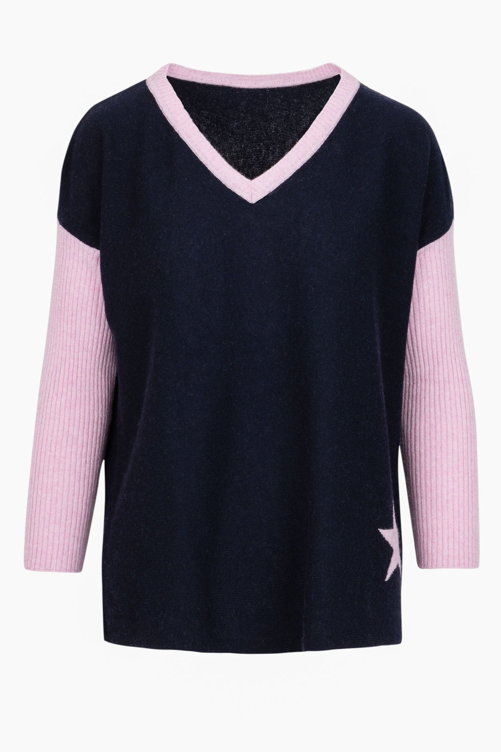 Cashmere Sweater- Baby Pink Star