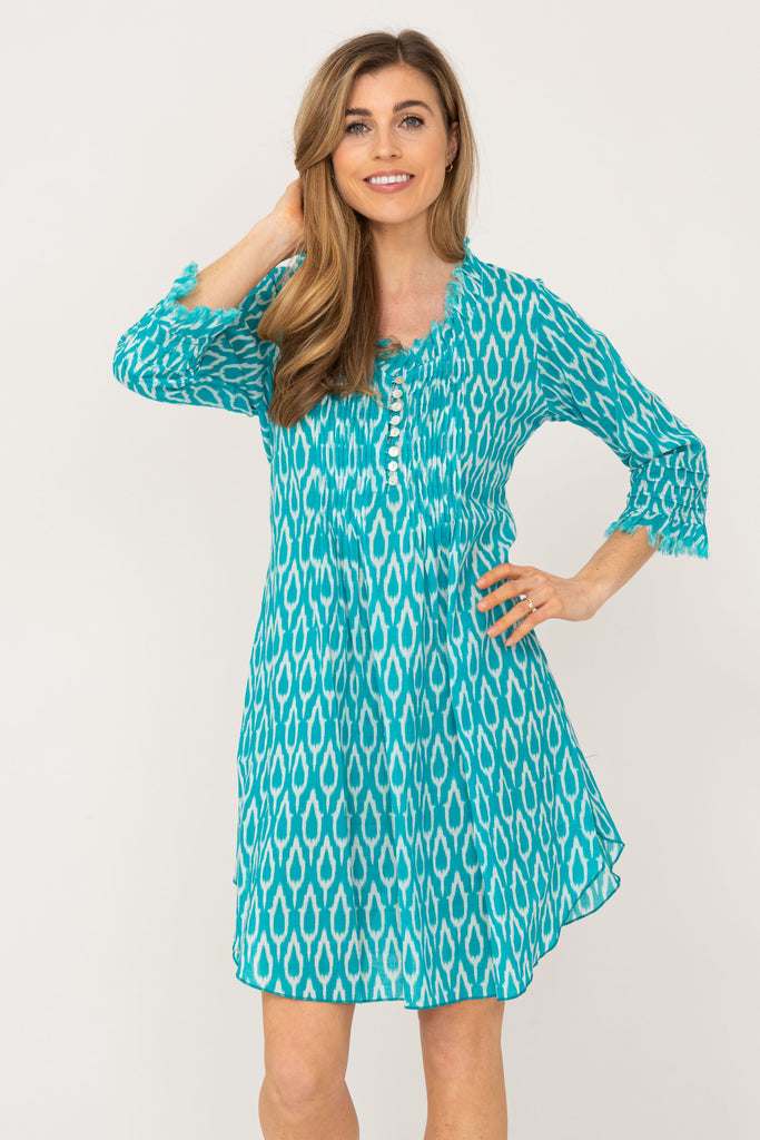 Annabel Cotton Tunic Aqua Ikat