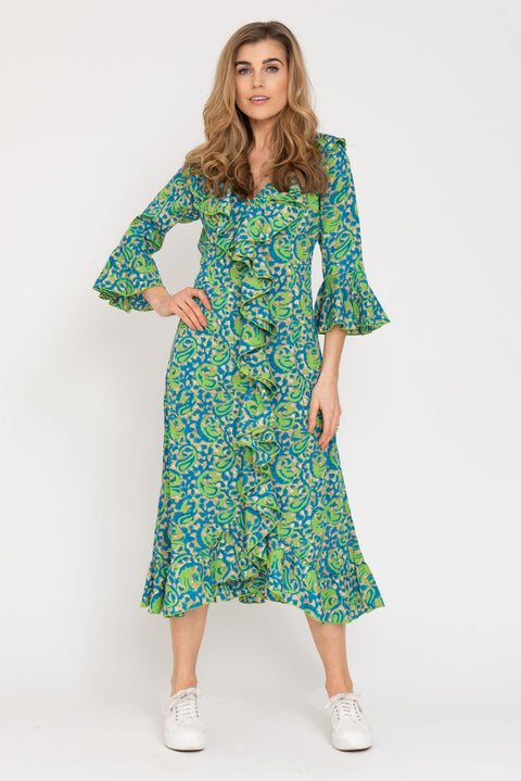 Felicity Dress - Turquoise and Lime