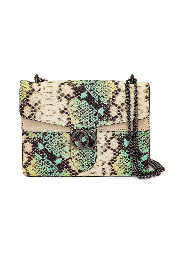 Animal Print Italian Leather Bag in Green