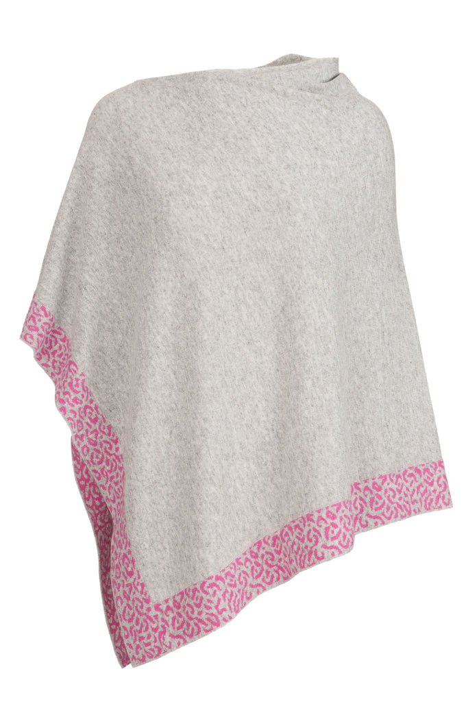 Cashmere Poncho- Light Grey and Pink Leopard Trim
