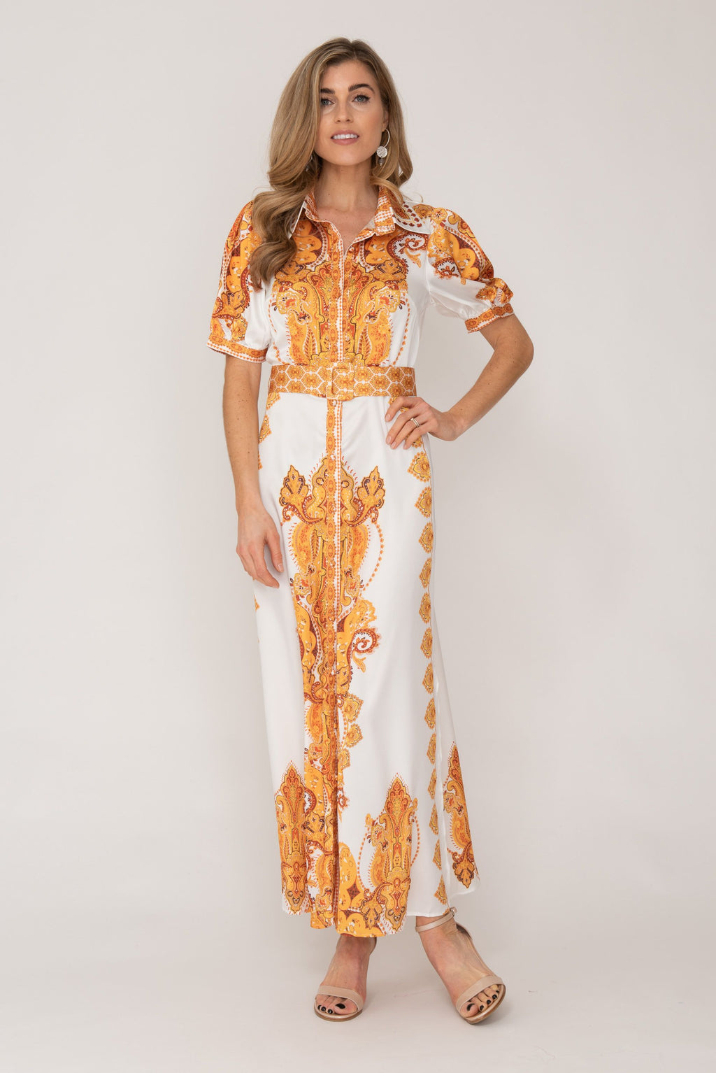 Maddie Dress Gold Brocade