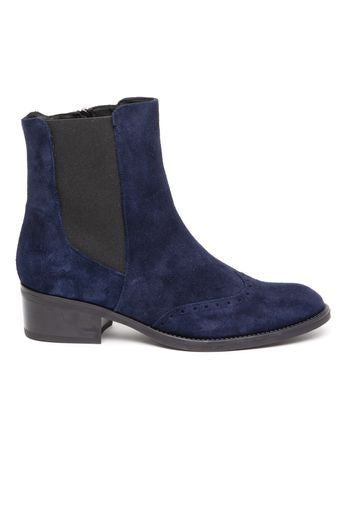 Leather ankle boot with brogue toe detail- navy by 'Toni Pons'