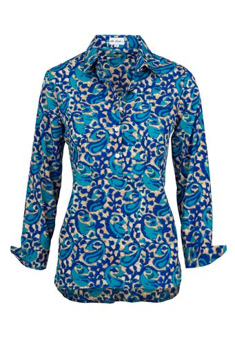 Soho Shirt- Royal blue and turquoise swirl