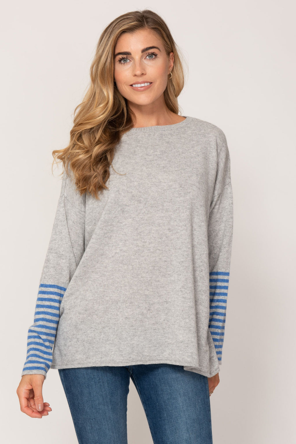 Cashmere Sweater- Blue and Grey Stripe