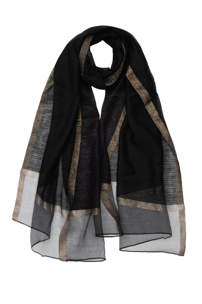 Black and Gold Sparkle Silk Scarf