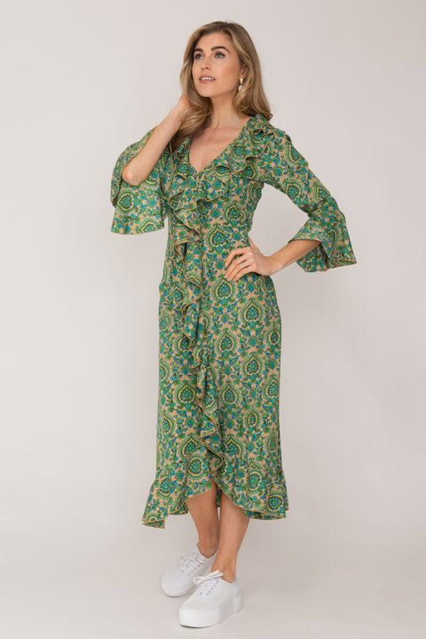 Felicity Dress Green Paisley