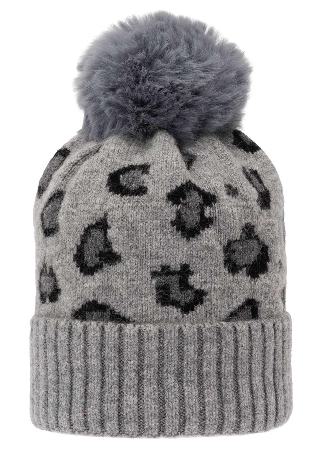 Super Soft Chunky Cashmere Hat with Pom Pom in Grey Leopard