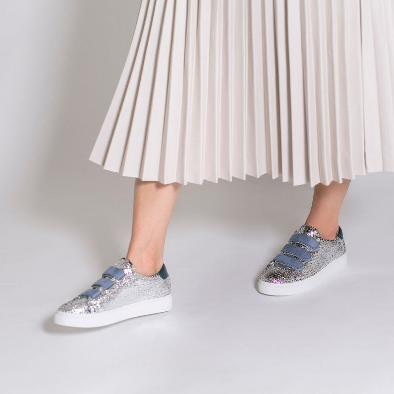 Silver Crackle Trainer with Blue by