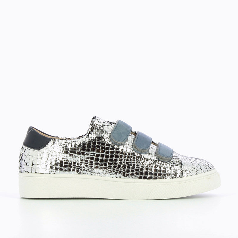 "Silver Crackle Trainer with Blue by ""Vanessa Wu'"