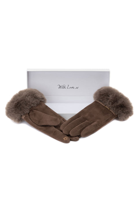 Taupe Faux Fur Glove by Envy