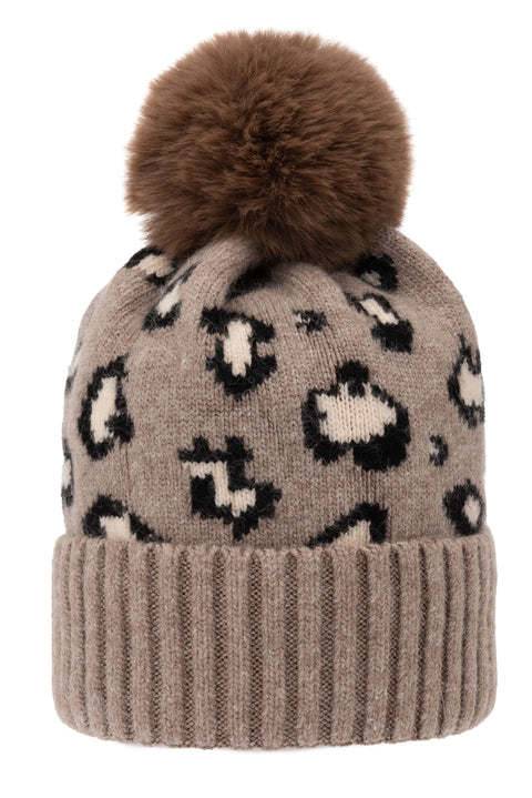 Super Soft Chunky Cashmere Hat with Pom Pom in Taupe Leopard