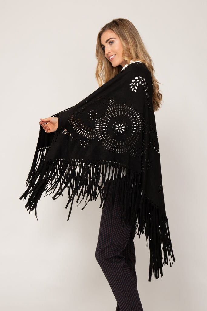 Faux Suede Cape in Black